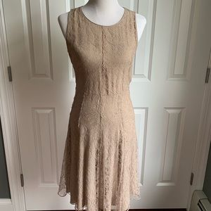 Burberry Lace Taupe Mid Length Cocktail Dress